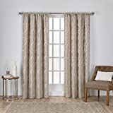 Exclusive Home Curtains Elena Rod Pocket Window Curtain Panel Pair, Taupe, 52x84