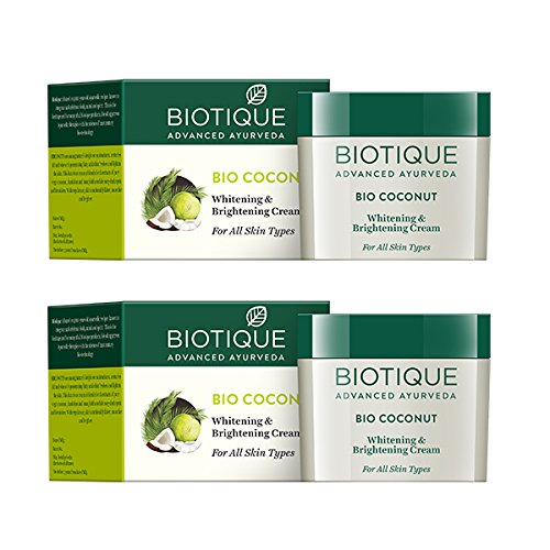 Biotique Bio Coconut Whitening and Brightening Cream for All Skin Types, 50g (Pack of 2)