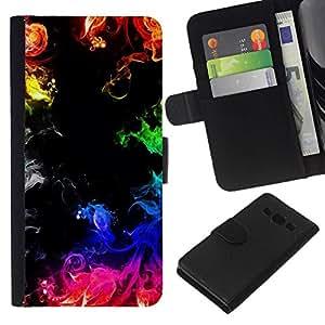 All Phone Most Case / Oferta Especial Cáscara Funda de cuero Monedero Cubierta de proteccion Caso / Wallet Case for Samsung Galaxy A3 // Fire Flames Black Rainbow Colorful