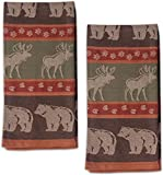 Moose and Bear Track Cotton Jacquard Kitchen Towel, Set of 2