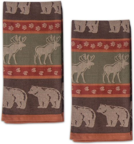 Moose and Bear Track Cotton Jacquard Kitchen Towel, Set of 2 ()