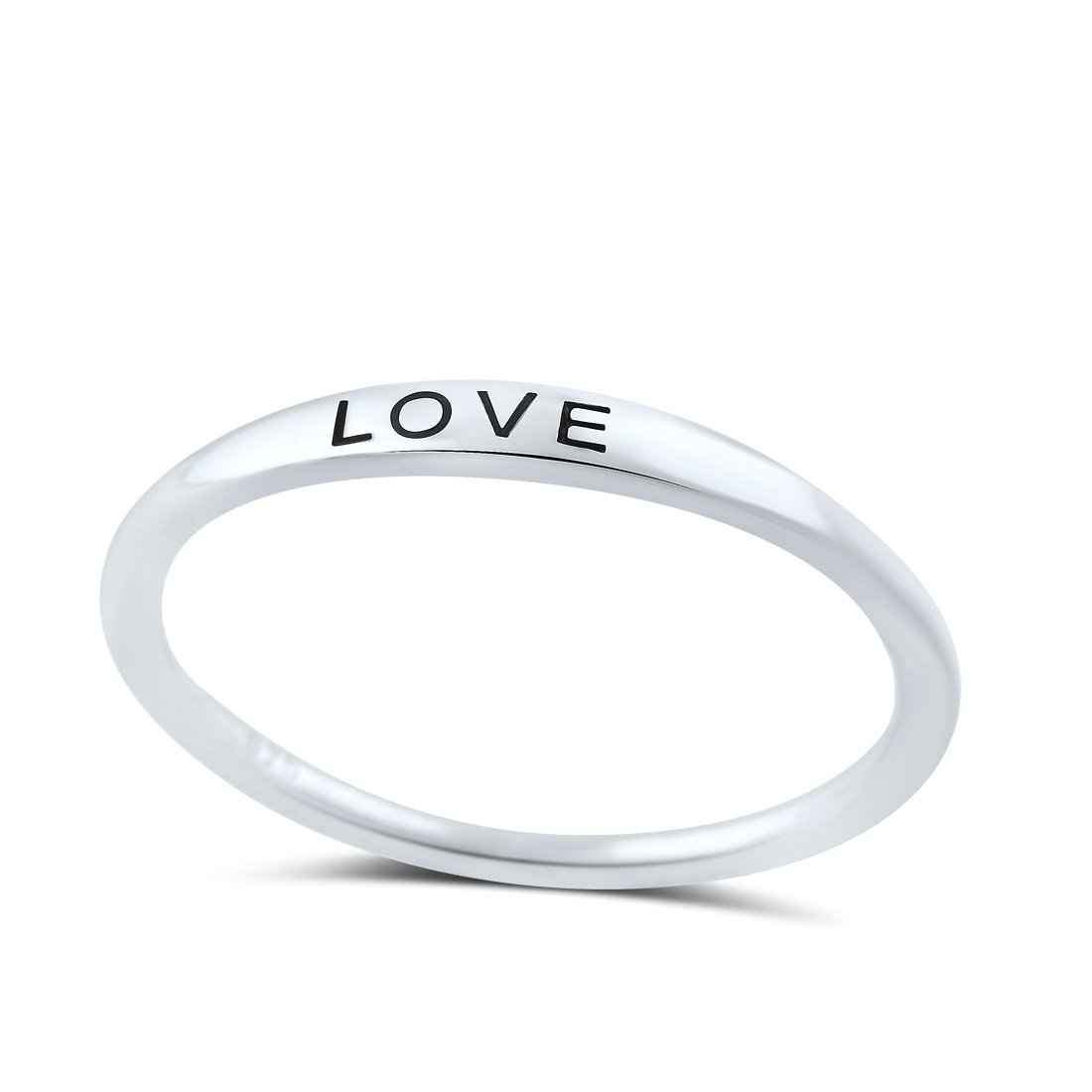 Sterling Silver Thin Stackable Love Ring (Size 4 - 11) SilverCloseOut
