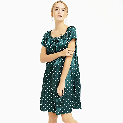 Women Silk Satin Nightdress Sleepshirt Sleepwear Green L