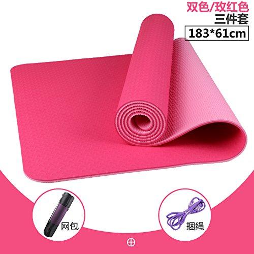 The two-Couleur of rouge 18361 8Mm( Beginner) YOOMAT Inodore Double Face Anti-SEnfant TPE Yoga Mat Débutant Fitness Mat grand 80cm épais Danse Mat150774