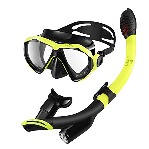 INTEGITY Snorkel Set, Anti-Fog Snorkel Mask Panoramic Tempered Glass Innovative Water-Air Separated Channel Dry Top Snorkel,Free Breathing Anti-Leak Diving Mask Adjustable Silicone Straps Adult Youth