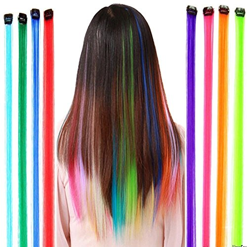 Fantastic High Quality Styling Hairdressers Set Kit With 12pcs Party Fake Synthetic Hair Pieces / Long Clip On Extensions With Iron Pins And In 12 Different Colors By VAGA