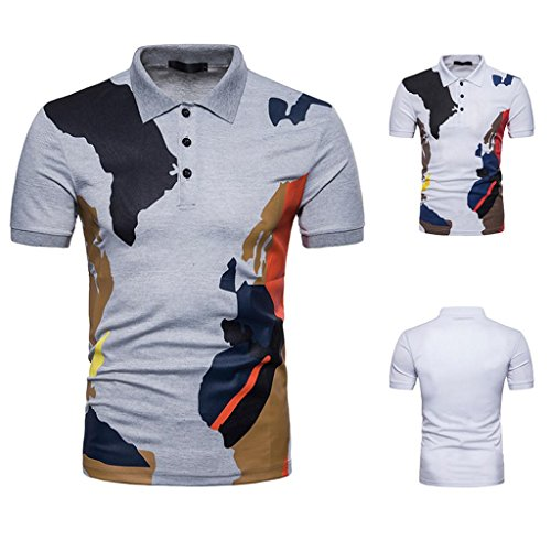 Mysky Mens Buttons Design Camouflage Short Sleeve Slim Fit Casual T Shirt (S, Gray) from My*sky Tops