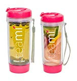 FRUIT INFUSER Water Bottle Tumbler with a Lid | 100% BPA FREE | Our Best Infusion Bottles for Infused Fruit, Smoothies, Tea, and Coffee | Double Walled Mug, Hot & Cold (13.5 Ounces, Pink)
