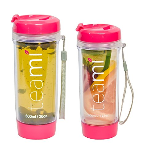 Personalized Party Beverage Cooler (FRUIT INFUSER Water Bottle Tumbler with a Lid | 100% BPA FREE | Our Best Infusion Bottles for Infused Fruit, Smoothies, Tea, and Coffee | Double Walled Mug, Hot & Cold (13.5 Ounces, Pink))