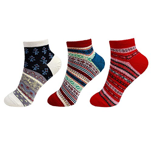 BambooMN-Womens-Size-X-Large-Vintage-Style-Knitted-Colorful-Cotton-Anklet-Socks