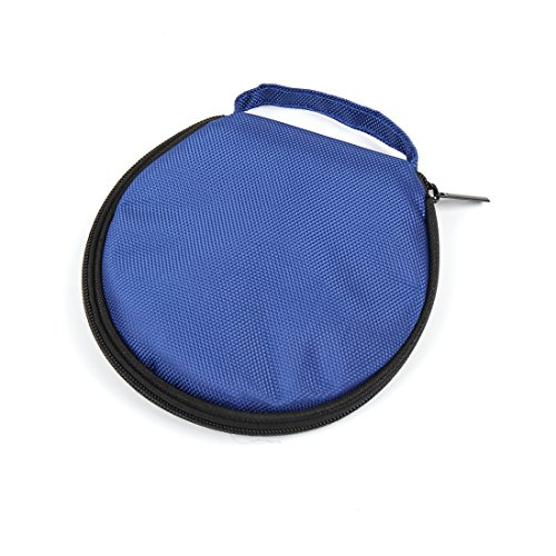 uxcell Blue Nylon 20 Capacity Round Wallet Case Storage Holder for Disc CD DVD VCD