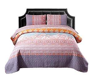 Exclusivo Mezcla 100% Cotton 3-Piece Boho Striped Quilt Set- Full/Queen Size