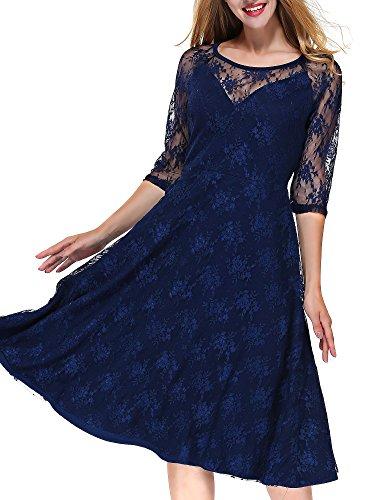 MIOIM Damen Spitzen Kleid Stitching Vintage Abendkleid Elegante 3/4 ...