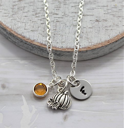 Pumpkin Necklace - Fall Themed Autumn Jewelry for Women - Personalized Birthstone & Initial - Fast Shipping ()