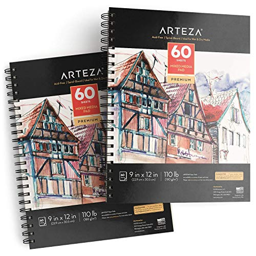"ARTEZA 9x12"" Mixed Media Sketch Pad, 2 Pack, 110lb/180gsm, 120 Sheets (Acid-Free, Micro-Perforated), Spiral-Bound Pad, Ideal for Wet and Dry Media, Sketching, Drawing, and Painting"