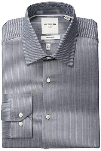 Ben Sherman Men's Slim Fit Dobby Stripe Spread Collar Dress Shirt, Blue, 16