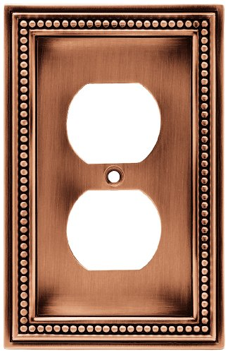 Brainerd 64244 Beaded Single Duplex Outlet Wall Plate / Switch Plate / Cover, Aged Brushed - Plate Wall Copper