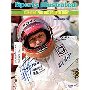 A.J. Foyt Autographed Sports Illustrated Magazine #X65461 PSA/DNA Certified Autographed NASCAR Magazines