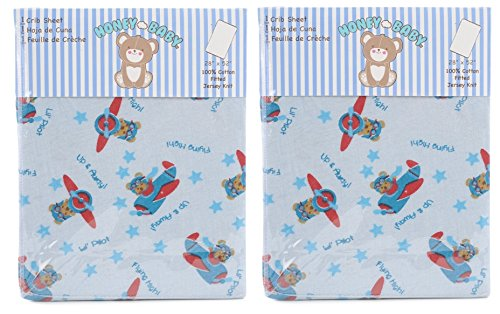 Honey Baby Flying High Toddler Bed or Crib Sheets 2-Pack (100% Cotton)