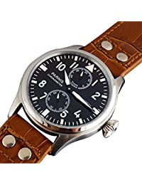 WhatsWatch 47mm parnis black dial big pilot power reserve seagull automatic mens watch PA-043