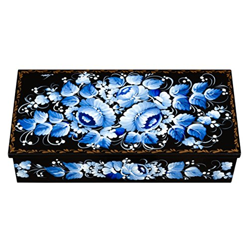 UA Creations Petrykiv Ethnic Rectangular Wooden Lacquer Jewelry Box with Lid, Hand Painted Flowers on Black, Beautiful Floral Design Gift for Girls and Women (Blue and White)