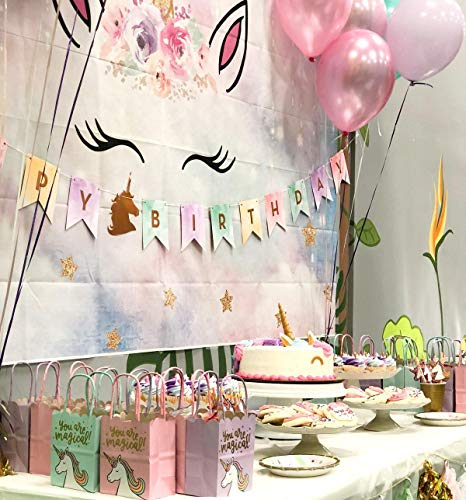 Allenjoy 7x5ft Unicorn Backdrop For Girls Photography Pink Fairy Sky Twinkle Star Baby Shower Cake Table