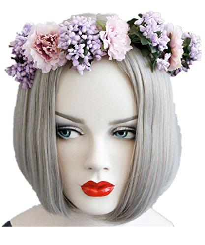 Yeshion Women's Girls Bohemia Handmade Flower Headbands Sandbeach Hair Band For Wedding Summer Photography Holiday (Flower Crown)
