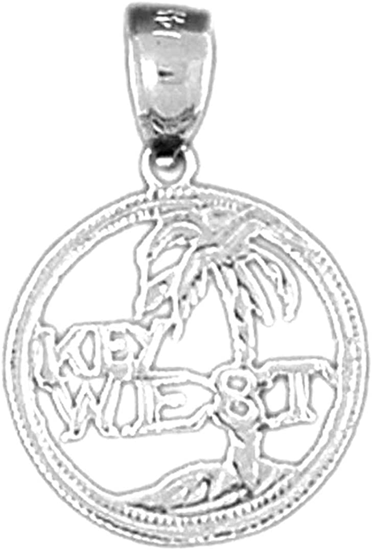 Jewels Obsession 14K White Gold Best Mom Pendant 22 mm