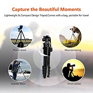 "SAILNOVO Camera Tripod Stand for DSLR Camcorder Canon Sony Nikon Olympus Lumix Pentax K-1,With 1/4"" 3 Way PanHead,2 Bubble Level,57""(147cm),Load up to 8.8lb, Beginner Video Fluid Head Tripod"