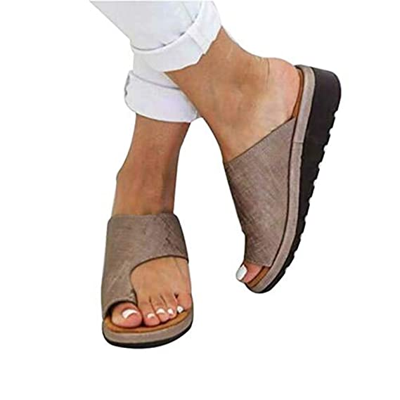 DOTBUY Damen Sandalen Sommer Plattform Sandale Schuhe, Frauen Bequeme Keilabsatz Elegant PU Leder Big Toe Hallux Valgus Unterstützung Sandale Schuhe
