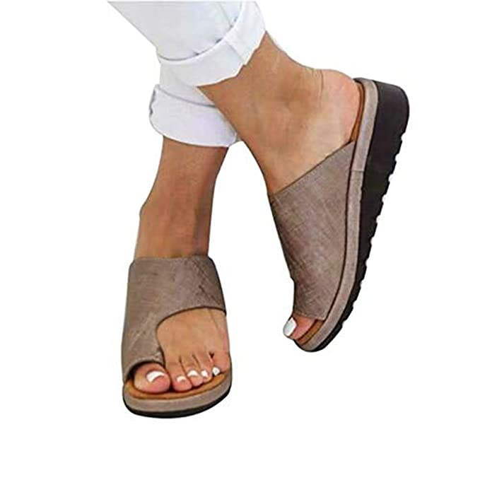 cheap for discount baf0c bb931 DOTBUY Damen Sandalen Sommer Plattform Sandale Schuhe, Frauen Bequeme  Keilabsatz Elegant PU Leder Big Toe Hallux Valgus Unterstützung Sandale  Schuhe ...