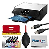 Canon PIXMA TS9020 Wireless All-in-One Inkjet Printer (White) + Canon CLI-271 Value Ink Pack + Type A to Type B USB Cable + Super Dust Blower + Photo4Less Cleaning Cloth – Deluxe Printing Bundle