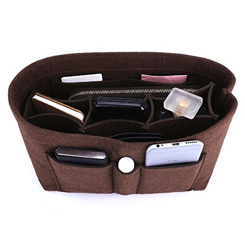 Felt Insert Bag Organizer Bag In Bag For Handbag Purse Organizer, Six Color Three Size Medium Large X-Large (Medium, Coffee)