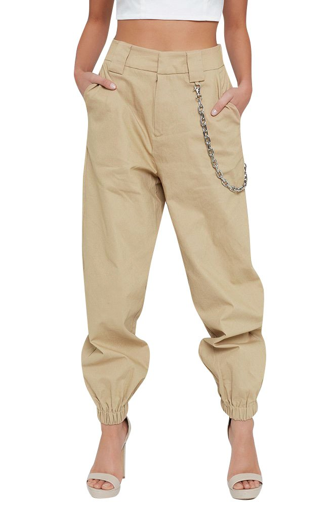 Glamaker Women's Casual Relaxed Fit High Waist Crogo Pants Jogger Trousers Harem Pants Plus Size Khaki
