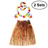 BESTOYARD 2 Sets Hawaiian Luau Hula Grass Skirt Flower Bracelets Headband Necklace Set 80cm for Costume Party, Events, Birthdays, Celebration (Colorful Skirt)