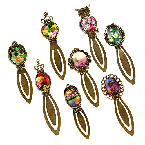 - Metal Antique Bronze Bookmark Sets, 8 Styles Round and Oval Alloy Trays and Glass Cabochons for Reading Gift Crafting DIY Book Marker Making