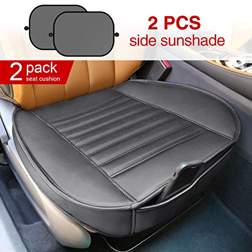 Modokit 2 Pack Car Front Seat Covers Edge Wrapping, PU Leather Car Seat Protector Mat Pads Waterproof Auto Supplies Office Chair 2 Sun Shades Car Window