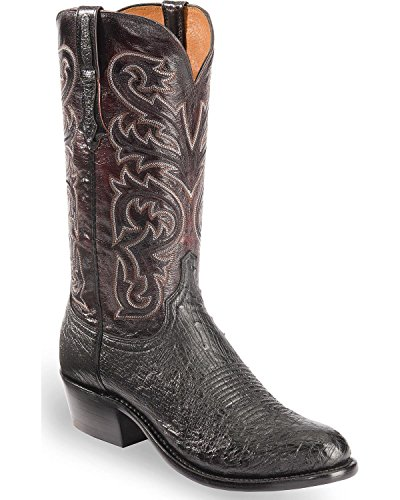 Lucchese Men's Handmade Nathan Smooth Ostrich Western Boot Round Toe Black 11.5 (Smooth Ostrich Boots)