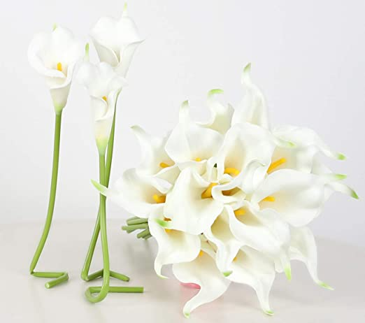 LATEX REAL TOUCH CALLA LILY FLOWERS BOUQUETS WEDDING BRIDAL BOUQUET ARTIFICIAL