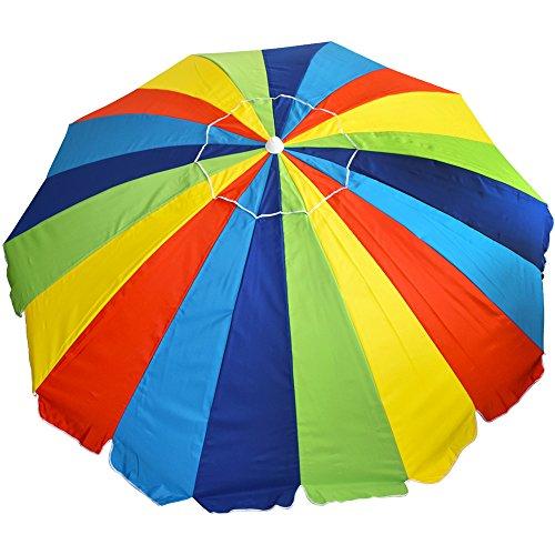 8 ft. 20 Panel Jumbo Vented Fiberglass Beach Umbrella - Rainbow