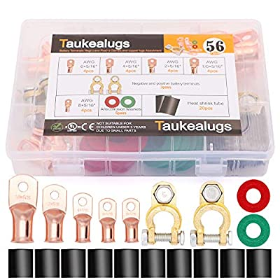 Copper Battery Terminals Negative and Positive Clamps Connectors(3pairs),AWG Wire Cable lugs Ring Terminals,Anti-Corrosion Protectors washers and Heat Shrink Tube Assortment Kit: Car Electronics