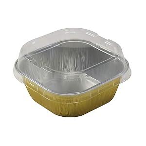 """KitchenDance Disposable Aluminum 4"""" x 4"""" Square 8 ounce Dessert Pans W/Lids - #ALU6P (GOLD, 50)"""