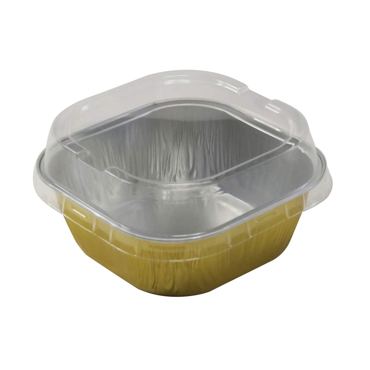 KitchenDance Disposable Aluminum 4'' x 4'' Square 8 ounce Dessert Pans W/Lids - #ALU6P (GOLD, 50)