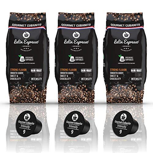 30 Pods - Gourmet Cubanito - Nespresso Compatible Capsules - Biodegradable - High Intensity Ristretto - Dark Roast Espresso - Alternative to Cafecito de Cuba - Fit All OriginalLine Coffee Machine