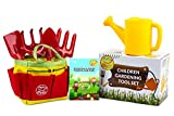 Gardening Gifts for Kids by My Funfare / Little Gardener Tool Set, Gardening Equipment, Outdoor Toys - Includes Rakes, Trowel, Shovel, Watering Can, Garden Bag, and Gardeners Guidebook.