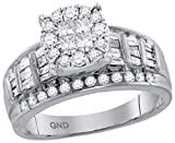14kt White Gold Womens Princess Round Diamond Soleil Cluster Bridal Wedding Engagement Ring 1.00 Cttw = 0.99 Cttw ( I1-I2 clarity; H-I color )