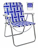 Aluminum Folding Lawn Chairs VALLF Lightweight Aluminum Folding Beach Camping Lawn Web Chair with Shoulder Strap (Blue and White)