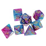 MonkeyJack 7 Pieces Polyhedral Dice Set D20 D12 D10 D8 D6 D4 for Dungeons & Dragons RPG Board Game Party Supplies Purple Blue