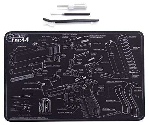 Tac44 Glock Gun Cleaning Mat & Tools | Glock Diagram | Glock Assembly Compatible | Bundle Pack