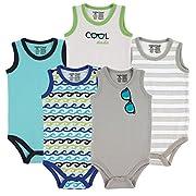 Luvable Friends 5-Pack Lightweight Sleeveless Bodysuits, Boy Sunglasses, 0-3 Months/Small